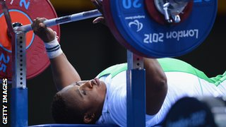 Nigerian Powerlifter at the London 2012 Olympics.