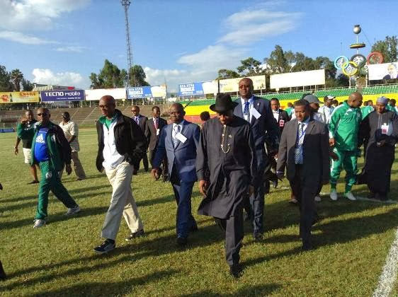 President Jonathan Visits Eagles Training at the Olympic Stadium in Addis Ababa.