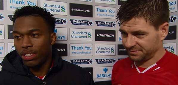 Sturridge and Gerrard at the Post Game Briefing.