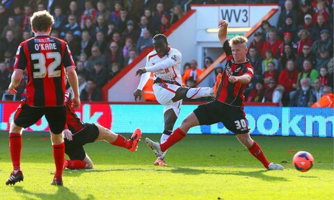 Victor Moses Scores for Liverpool Against Bournemouth.