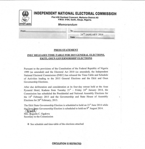 MUST READ: INEC Releases the Timetable for the 2015 General Elections