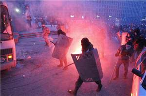Police Fire Water Cannon At Kiev Protesters