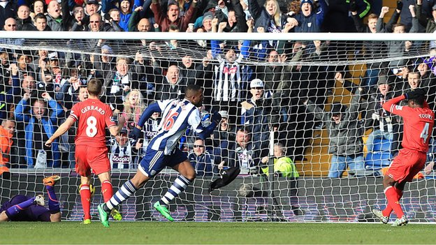 Anichebe Scores West Brom's Equaliser Against Liverpool. Image: PA.