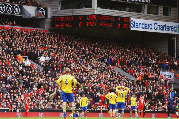 Arsenal Were 4-0 Down After 20 Minutes of Saturday's Trip to Anfield.