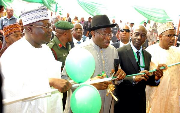 PRESIDENT GOODLUCK JONATHAN, SENATOR LAWAN AHMED (LEFT) AND THE AUDITOR-GENERAL OF FEDERATION (AGF), MR. SAMUEL UKURA, AND OTHERS AT THE INAUGURATION OF THE OFFICE OF AUDITOR GENERAL OF FEDERATION