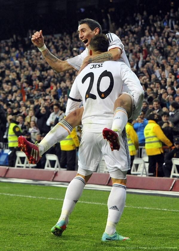 Jese Rodriguez and De Maria Celebrates Real Third Goal.