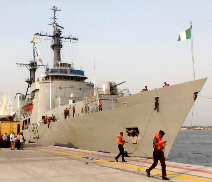NIGERIAN NAVY SHIP NNS THUNDER ON ARRIVAL AT PORT HARCOURT BASE AFTER ITS 6 MONTHS IN THE ROYAL AUSTRALIAN NAVY'S INTERNATIONAL FLEET REVIEW IN SYDNEY, ON WEDNESDAY  (12/2/14).