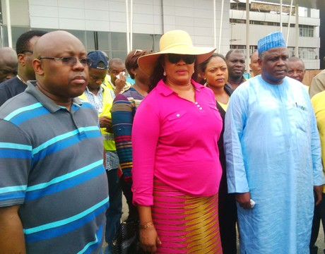 FROM LEFT: MANAGING DIRECTOR, FEDERAL AIRPORTS AUTHORITY OF NIGERIA (FAAN), MR GEORGE URESI; MINISTER OF AVIATION, PRINCESS STELLA ODUAH AND COMMISSIONER FOR ACCIDENT INVESTIGATION BUREAU, CAPT. MUHTAR USMAN, DURING INSPECTION OF THE ONGOING RE-MODELLING OF PORT-HARCOURT INTERNATIONAL TERMINAL IN PORT HARCOURT ON SATURDAY (1/2/14).