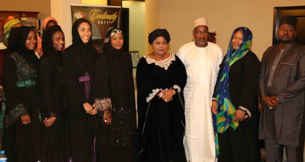 FIRST LADY, PATIENCE JONATHAN (FIFTH LEFT) WITH FCT MINSTER SENATOR BALA MOHAMMED DURING A CONDOLENCE VISIT TO THE MINISTER ON SUNDAY