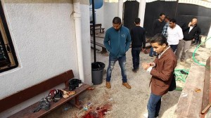 Libyan youths at a primary school in Benghazi where a bomb injured 12 children