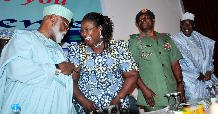 FROM LEFT:  CHAIRMAN OF THE OCCASION, GEN. ABDULSALAMI ABUBAKAR; REPRESENTATIVE OF THE GOVERNOR OF RIVERS; MRS IBIM SEMENITARI, REPRESENTATIVE OF CHIEF OF ARMY STAFF, BRIG.-GEN. OLAJIDE LALAYE AND  CHAIRMAN, BOARD OF  PEOPLES MEDIA LIMITED, MALAM WADA MAIDA, AT THE  PEOPLES MEDIA LIMITED CONFERENCE IN ABUJA ON THURSDAY (6/3/14).