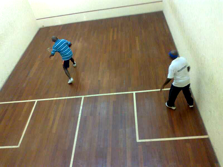 FORMER PRESIDENT OLUSEGUN OBASANJO (R) IN AN EXHIBITION MATCH WITH JUSTICE OLADEHINDE SOREMI, IN COMMEMORATION OF HIS BIRTHDAY IN ABEOKUTA ON WEDNESDAY (5/3/14).