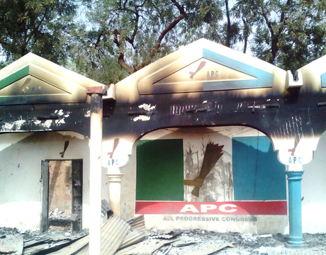 THE CAMPAIGN OFFICE OF SEN. IBRAHIM GOBIR (APC-SOKOTO), TORCHED BY UNKNOWN PERSONS IN SOKOTO ON SATURDAY (1/3/14).