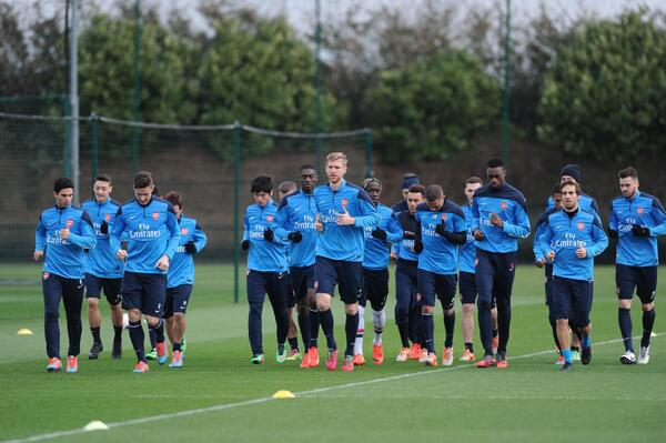 Arsenal training Ahead of Their Champions League Game at the Allianz Arena.