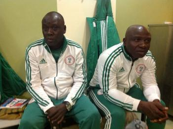 Coach Garba and Nduka Ugbade in a Dressing Room.
