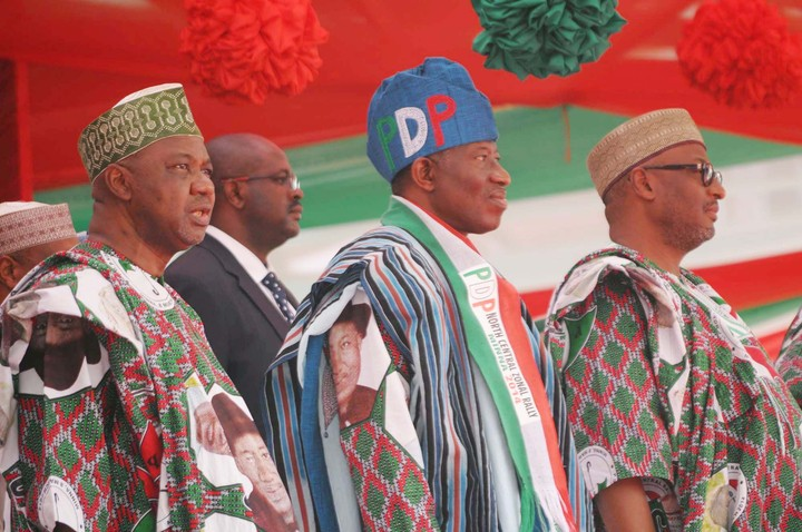 FROM LEFT: VICE PRESIDENT NAMADI SAMBO; PRESIDENT GOODLUCK JONATHAN AND NATIONAL CHAIRMAN OF PDP, SEN. ADAMU MUAZU, AT THE NORTH CENTRAL PDP ZONAL RALLY IN MINNA ON SATURDAY (8/3/14).
