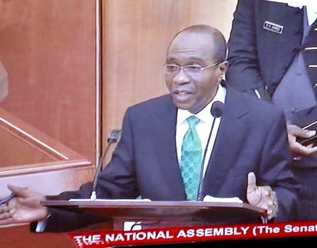 MR GODWIN EMEFIELE ANSWERING QUESTIONS  DURING HIS SCREENING BY THE SENATE FOR  CENTRAL BANK GOVERNORSHIP IN ABUJA ON WEDNESDAY (26/3/24).