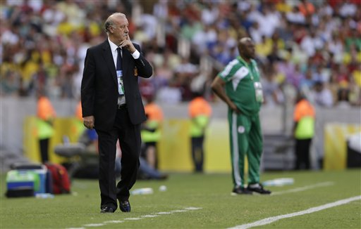 Stephen Keshi and Spain Head Coach Vicente Del Bosque Pictured at the Touchline in Fortaleza, Brazil.
