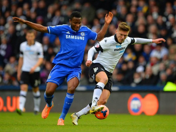 Mikel Obi in Action In Chelsea's FA Cup Third Round Win Over Derby.