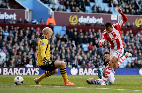 Osaze Odemwingie Leveled for the Potters at Villa Park in their 3-1 Away Win.
