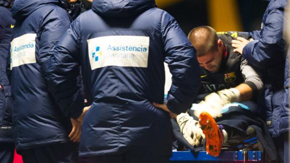 Victor Valdes Was Injured in the First Half of Last Wednesday's La Liga Game Against Celta Vigo at the Nou Camp.