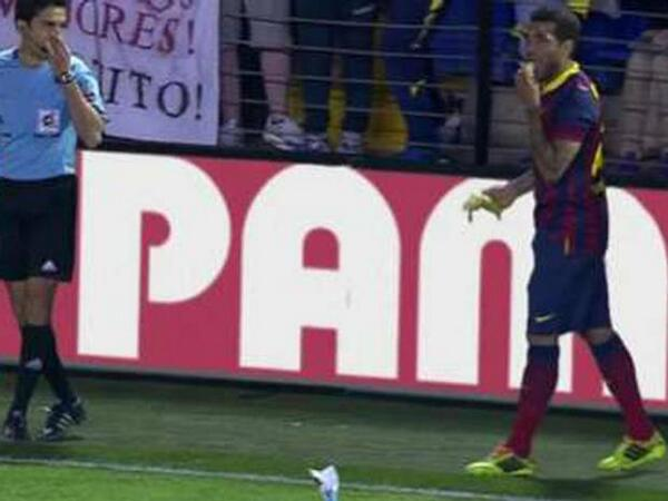 Dani Alvez Bit a Banana Thrown from the Crowd During Barca's 3-2 Win At Villareal and Kicked the Remnant/Racism Out of Football.