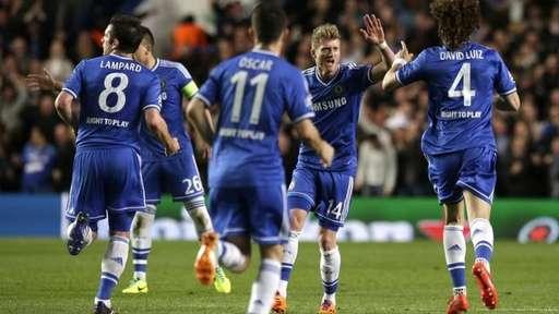 Andre Schuerrle Celebrates Scoring Chelsea's Opener Against PSG at Stamford Brdige.