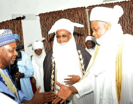 FROM LEFT: VICE PRESIDENT, NAMADI SAMBO; ETSU NUPE, ALHAJI YAHAYA BUBAKAR AND SULTAN OF SOKOTO, ALHAJI SA'AD ABUBAKAR 111, AT THE JAMA'ATU NASRIL ISLAM, GOLDEN JUBILEE LECTURE IN KADUNA ON SUNDAY (13/4/14).