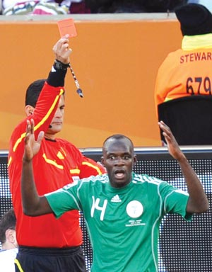 Sani Kaita Got His Marching Order for a Shameful Retaliatory Lunge at Vasilis Torosidis as Nigeria Lost In World Cup 2010 Group Stages to Greece.