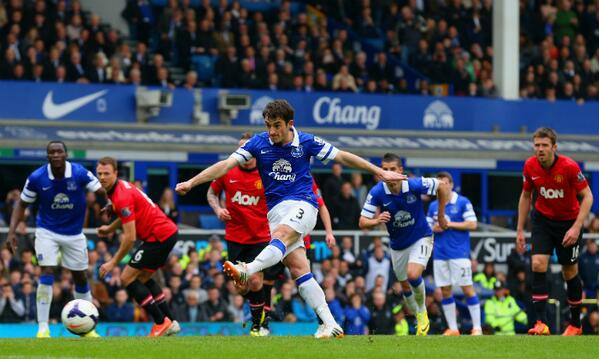 Leighton Baines Open Scoring for Everton During Sunday's 2-0 Win at Goodison Park.
