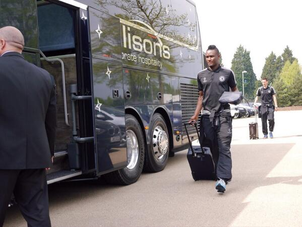 Chelsea's Mikel Obi Heading Off to the Airport for Tomorrow Night's Champions League Tie.