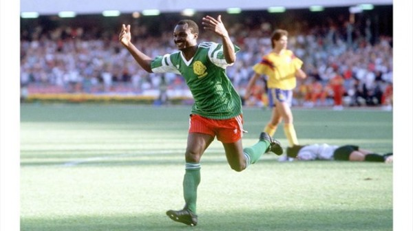Roger Miller Celebrates Scoring for Cameroon at the USA 94 World Cup.