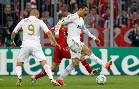 Ronaldo Dazzles Against Bayern Munich Players During Tuesday's Champions League Semi-Final Second Leg Tie At the Allianz Arena.
