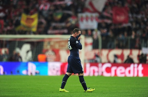 Rare Shame: Wayne Rooney Covers Face After 90 Minutes, Knowing Any Chances of Appearing in European Competition Next Season is Long Gone.