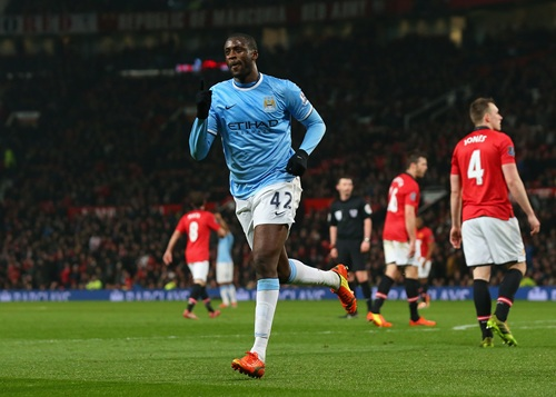 Yaya Toure Celebrates His Goal Against Manchester United at Old Trafford.