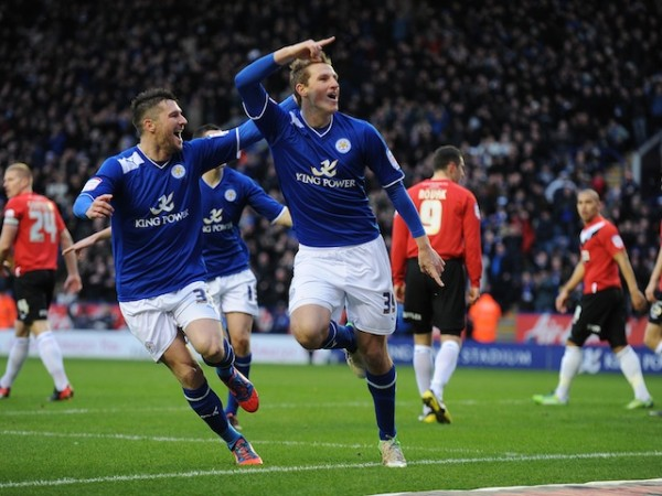 Leicester City's Chris Wood (right) celebrates with David Nugent after scoring the opening goal of the game against Huddersfield Town.