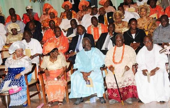 FROM L-R: FIRST LADY, PATIENCE JONATHAN, PRESIDENT'S MOTHER, MADAM EUNICE, PDP BoT CHAIRMAN, TONY ANENIH, IJAW LEADER, EDWIN CLARK AND EX-PRESIDENT OLUSEGUN OBASANJO