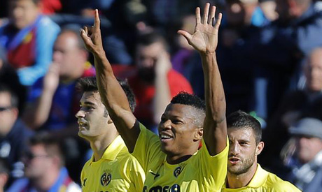 Ikechukwu Uche Celebrates Villareal's Passage Into the Qualification Round of the Europa League.