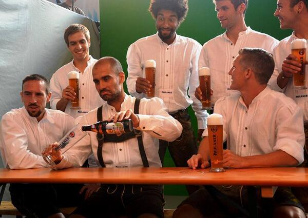 Pep Guardiola and His Bayern Munich Players Celebrates Bundesliga Title.