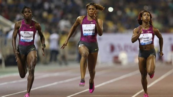 Blessing Okagbare's Late Surge Was Insufficient to Halt Shelly-Ann Fraser-Pryce from Claiming First Place at the Doha Diamond League Meet. Image Credit: Hasse Sjogren for Diamond League.