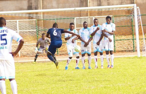 Nnamso Edo Takes a Free-Kick for Akwa United.