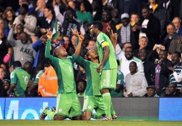 Super Eagles Celebrates After Uchebo's Strike.
