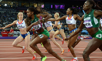 Team Nigeria Women's Relay Team Finished 3rd in the 4X400m in Nassau.