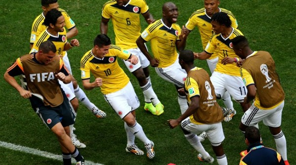 Colombian Players Celebrates Rodriguez's 64th Minute Strike.