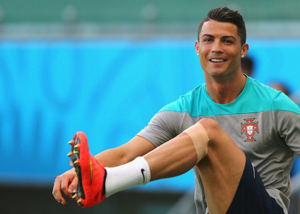 Ronaldo's Knee Strapped With Tape During Portugal Training.
