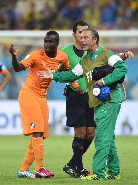 Didier Ya Konan Limps Off During Ivory Coast's Win Over Japan. AFP/ Getty Image.