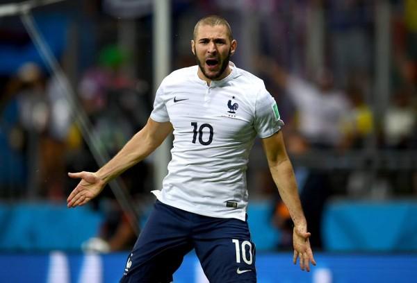 Karim Benzema Celebrates France's Fourth Goal Against Switzerland.