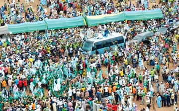 MAMOTH CROWD AT RAUF AREGBESOLA'S CAMPAIGN RALLY IN IKIRUN