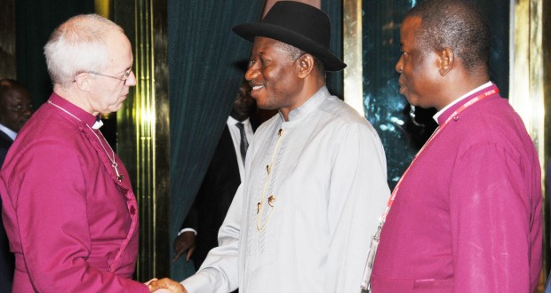 PRESIDENT GOODLUCK JONATHAN (M), WELCOMING THE ARCHBISHOP OF CANTERBURY, RT. REV. JUSTIN WELBY DURING HIS VISIT TO THE PRESIDENTIAL VILLA IN ABUJA ON WEDNESDAY. WITH THEM IS THE PRIMATE OF THE ANGLICAN COMMUNION, MOST REV. NICHOLAS OKOH.