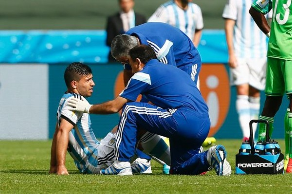 Argentina Sergio Aguero After Sustaining a Muscle Injury in the Win Over Nigeria.